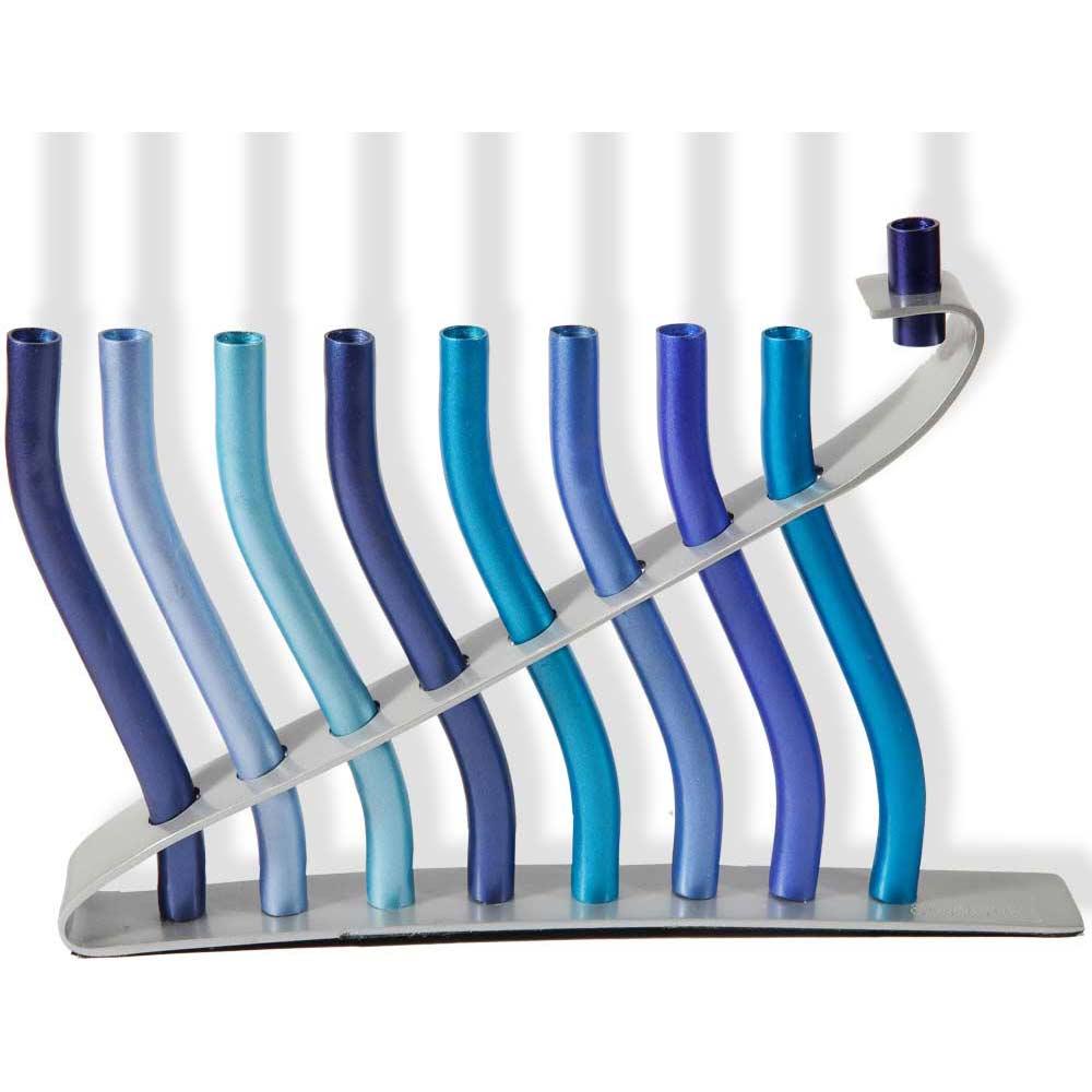 Hanukkah Gifts Blue Sticks Aluminum Hanukkah Menorah