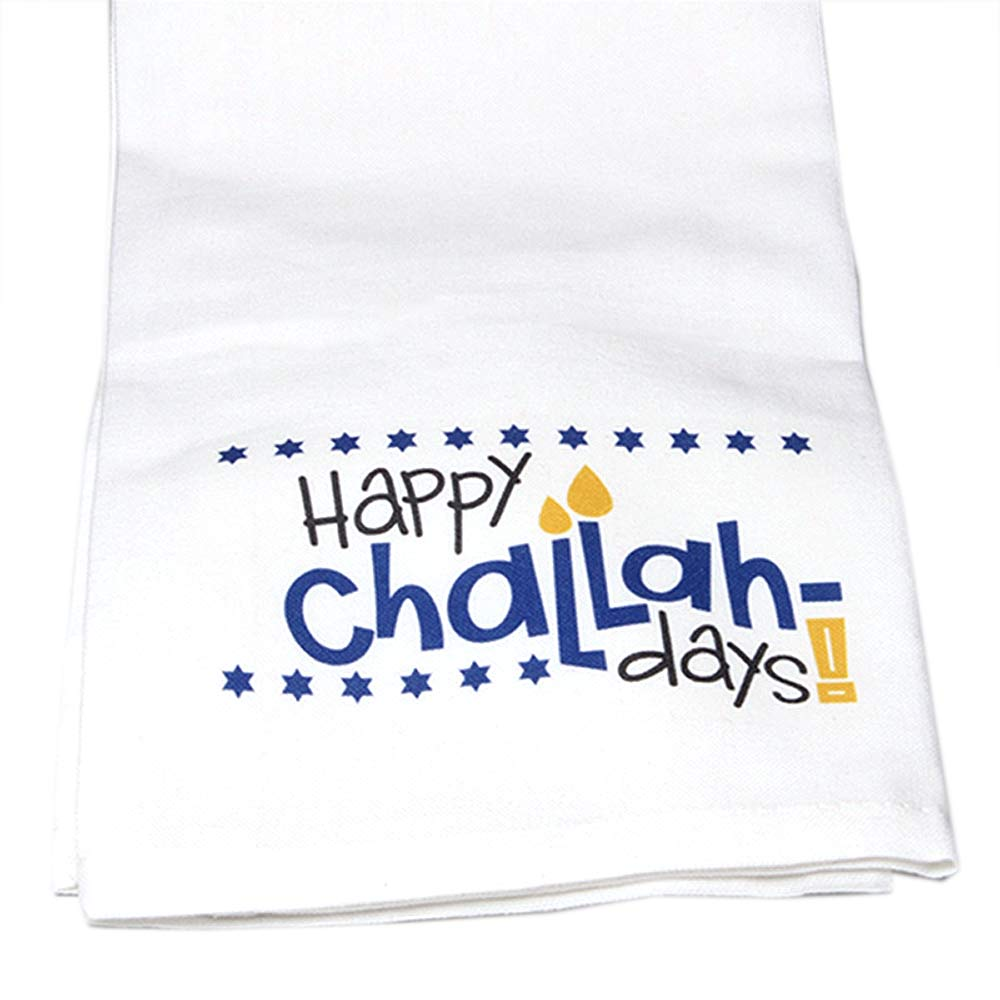 Hand-Printed Happy Challah Days Cotton Towel
