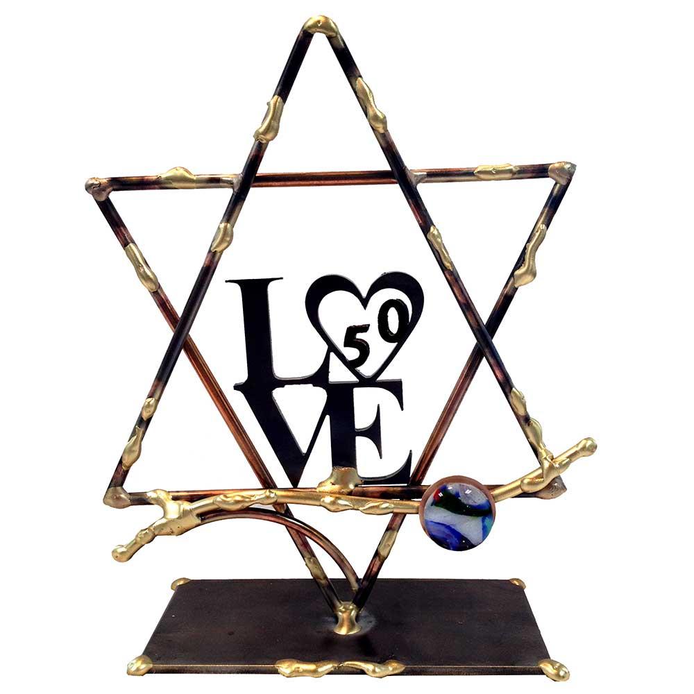 Jewish Wedding Gift: Jewish Wedding Gift, Large 50th Anniversary Love Sculpture