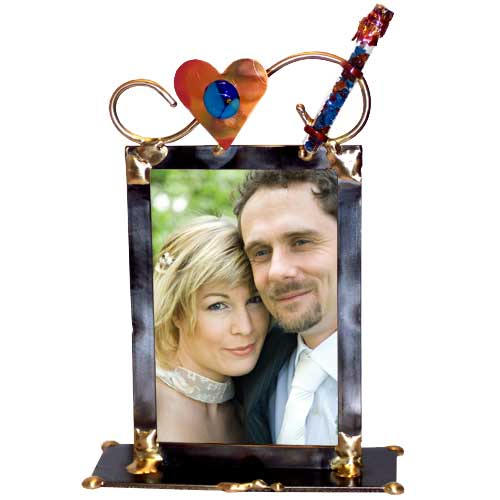 Jewish Wedding Gift Heart Crushed Chuppah Glass Keepsake Frame By Gary Rosenthal