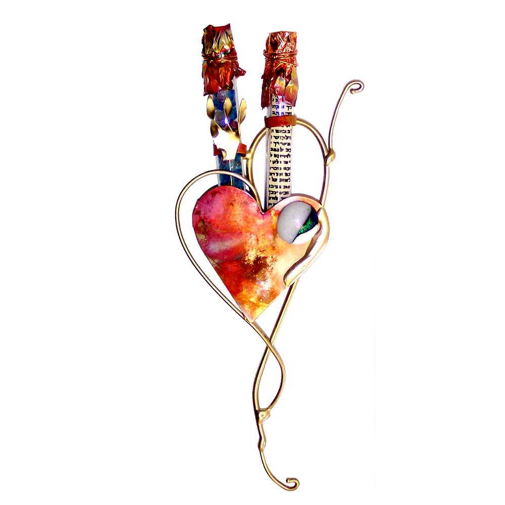 Wedding Gl Mezuzah Copper Heart Crushed By Gary Rosenthal