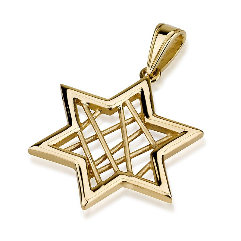 Jewish Jewelry From Israel 14k Gold Star Of David Pendant From Israel