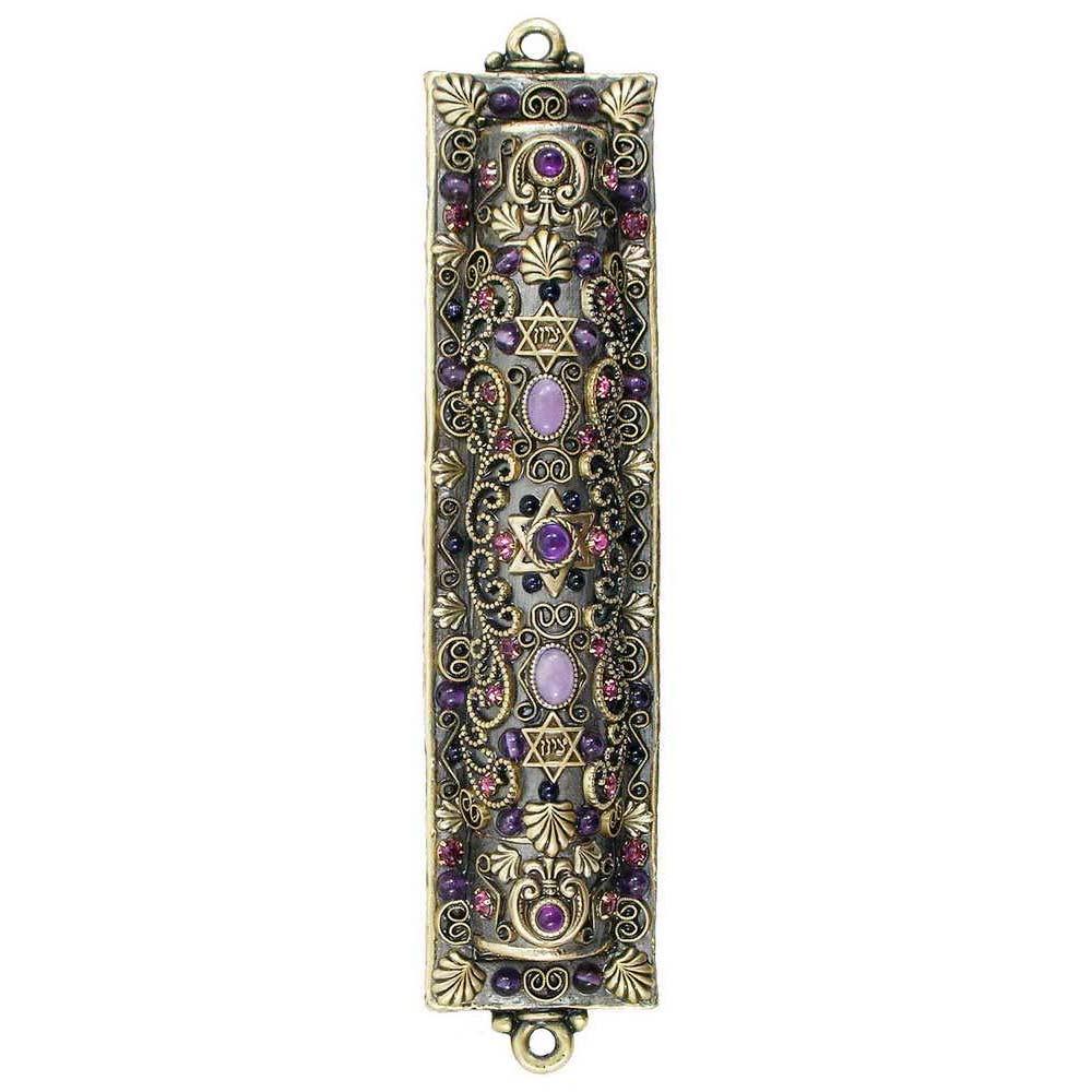 decorative michal golan mezuzah with purple crystals