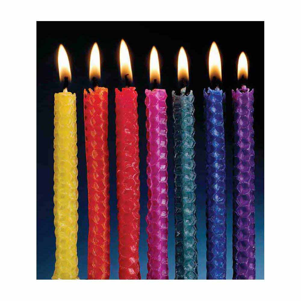 Multi Color Honeycomb Beeswax Candles