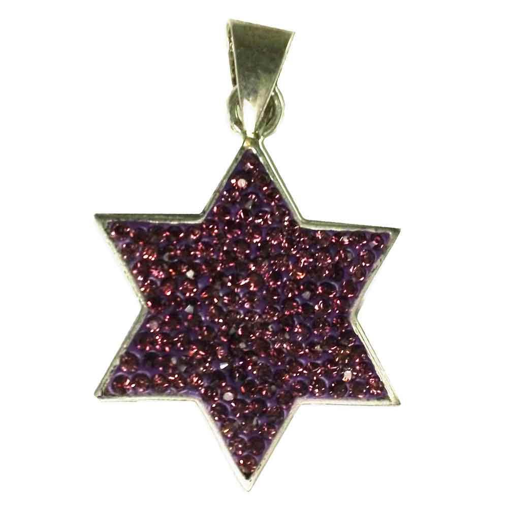 Violet Jewish Star Sparkle Pendant