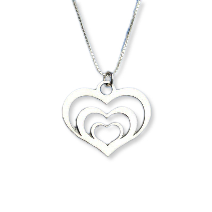 Sterling Silver Necklace Gift Silver Heart Necklace Three Heart Necklace Heart Necklace Sterling Heart Necklace