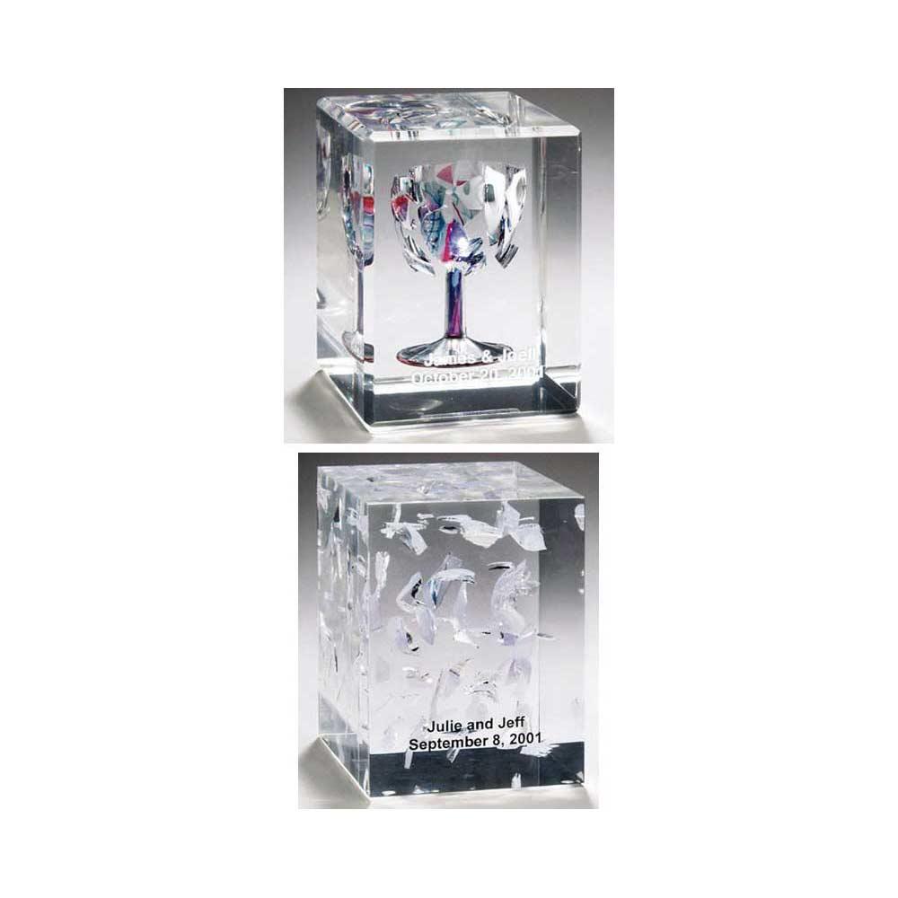 Jewish Wedding Gift, Crushed Wedding Glass Lucite Cube Wedding ...