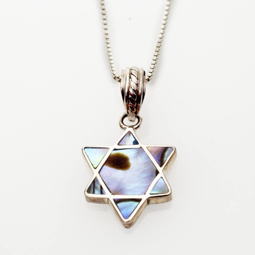 Jewish jewelry judaica jewish star necklace silver abalone for Star of david jewelry wholesale