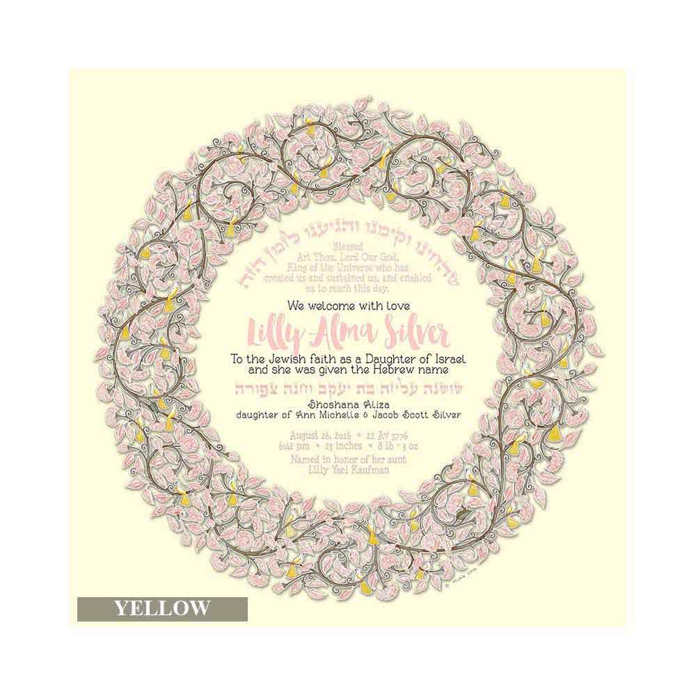 Jewish gifts new baby birdsong personalized baby girl print negle Image collections