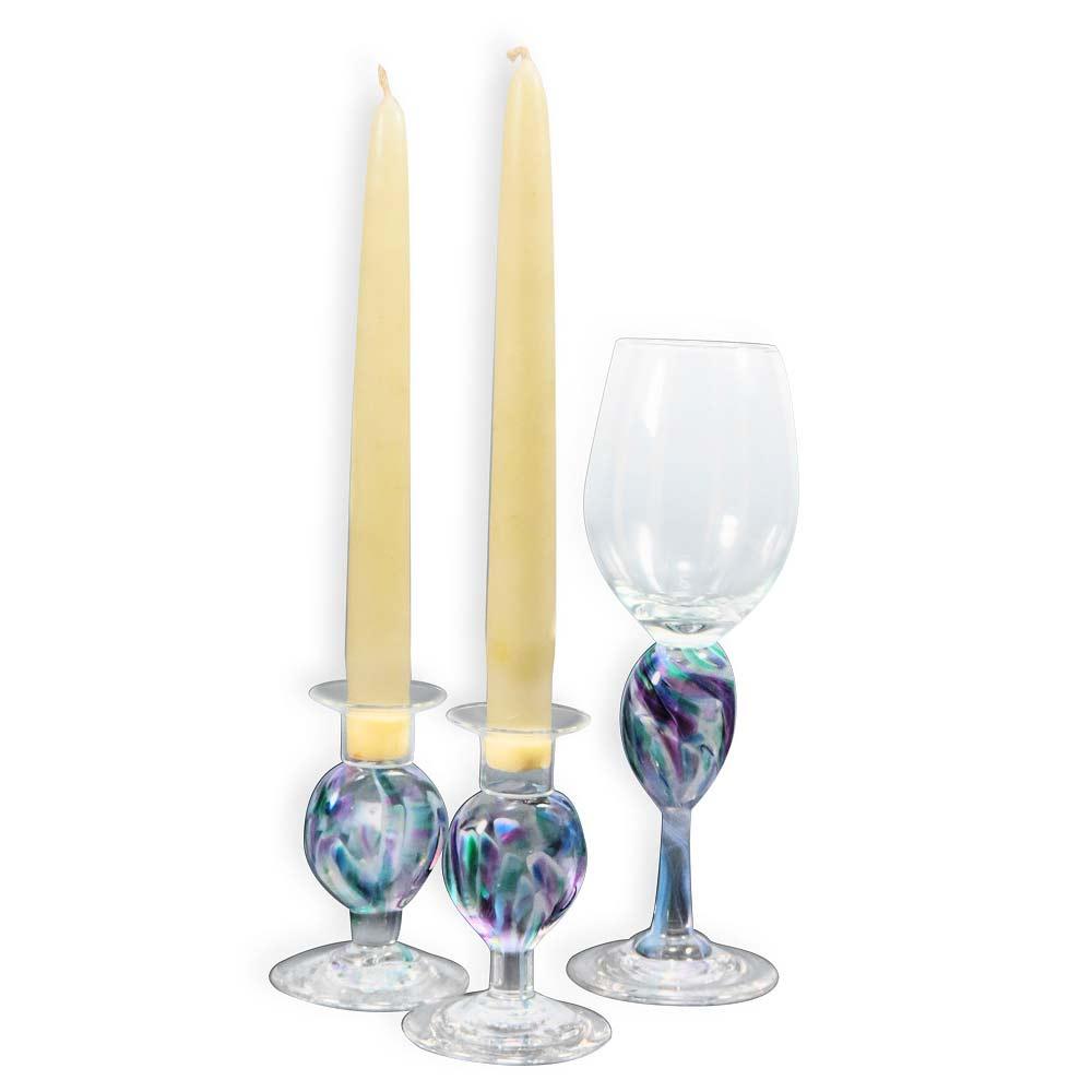 Jewish Wedding Gifts Blown Glass Shabbat Set Wedding Keepsake
