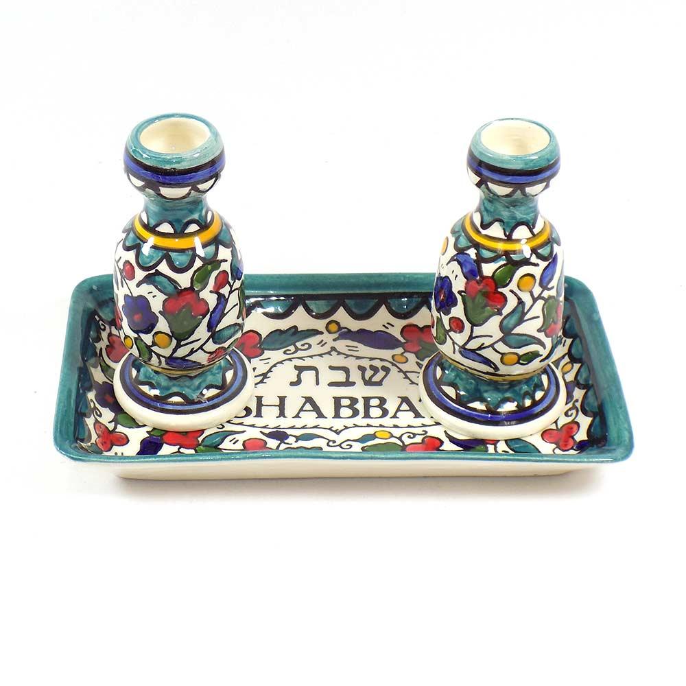 Colorful Flowery Shabbat Candle Holder