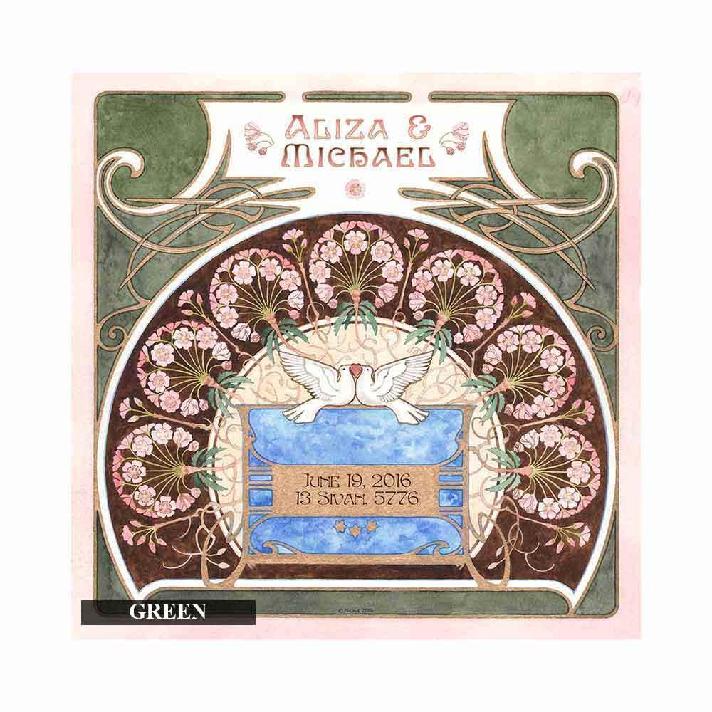 Wedding Gift Ideas Jewish : Jewish Wedding Gifts Personalized Doves Personalized Art Print