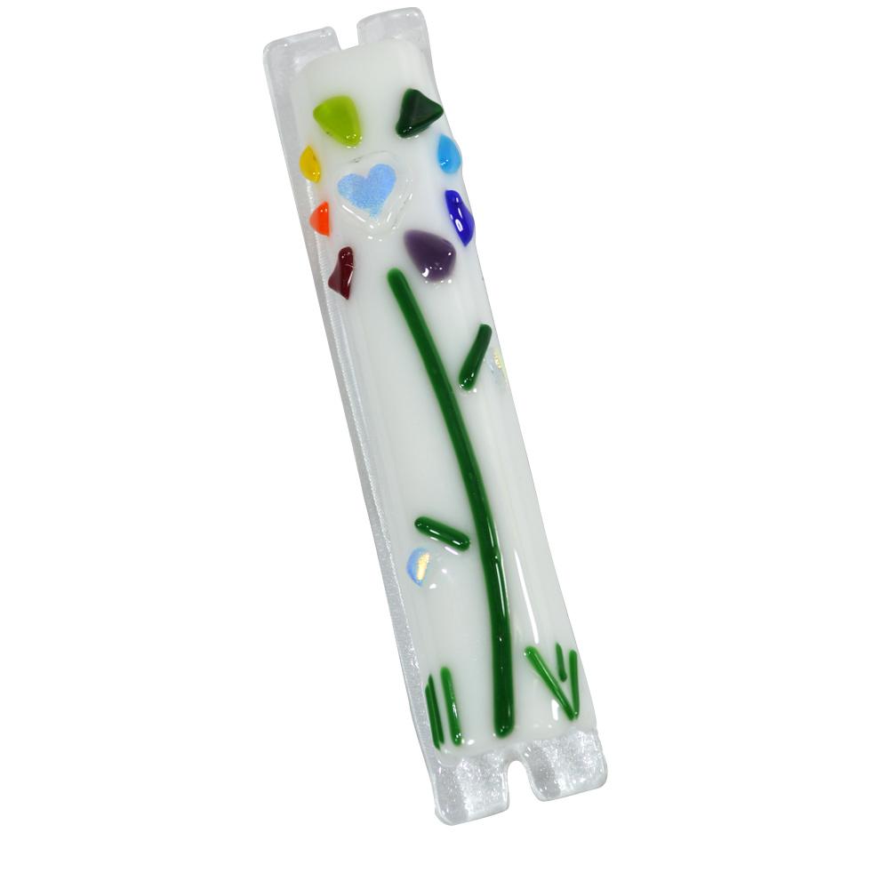 Fused Glass Flower Design Mezuzah Case | Sandi Katz