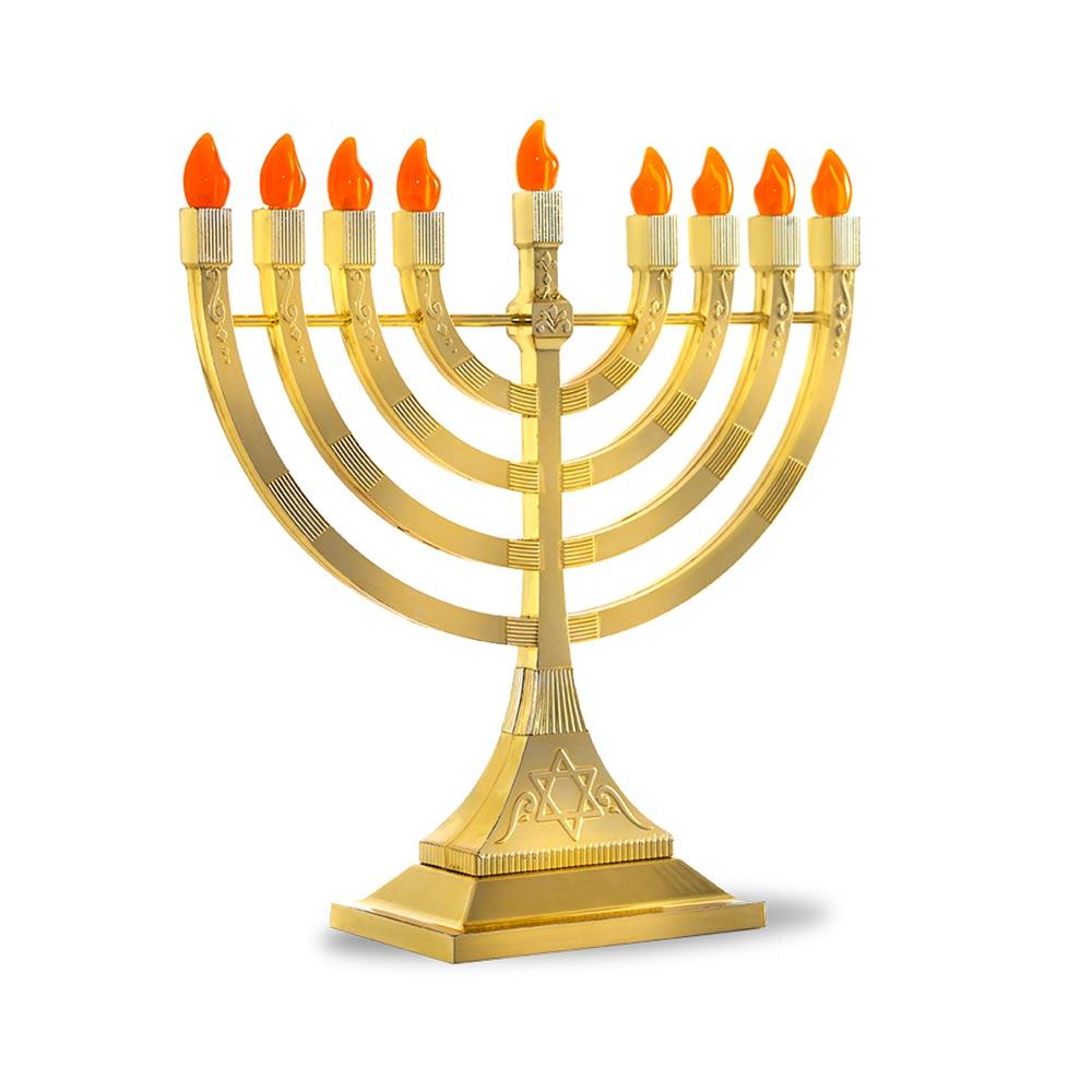 Hanukkah Electric Menorah Gold Tone Battery Operated Menorah