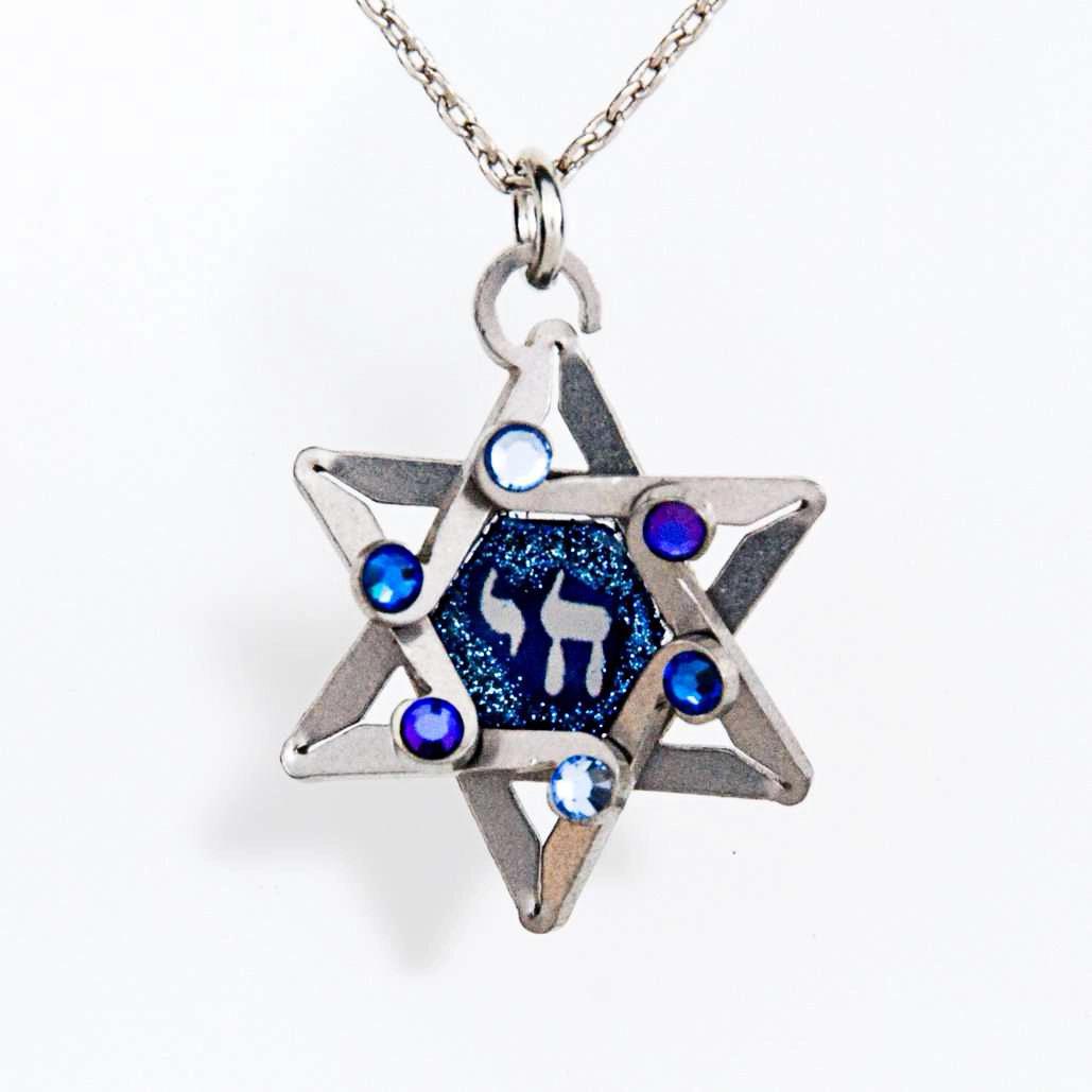 Jewish jewelry pendant necklace jeweled jewish star of for Star of david jewelry wholesale