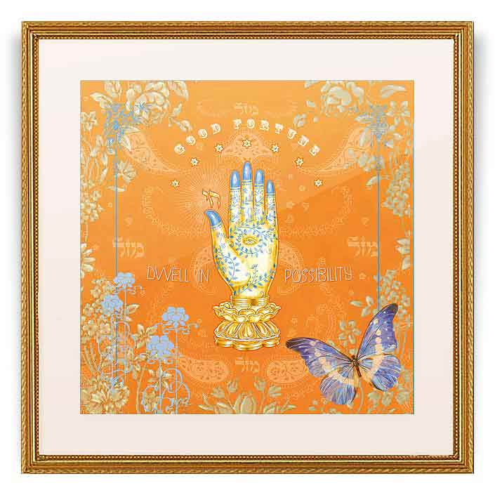 Jewish Gifts-Hamsa And Butterfly Framed Wall Art By Mickie Caspi