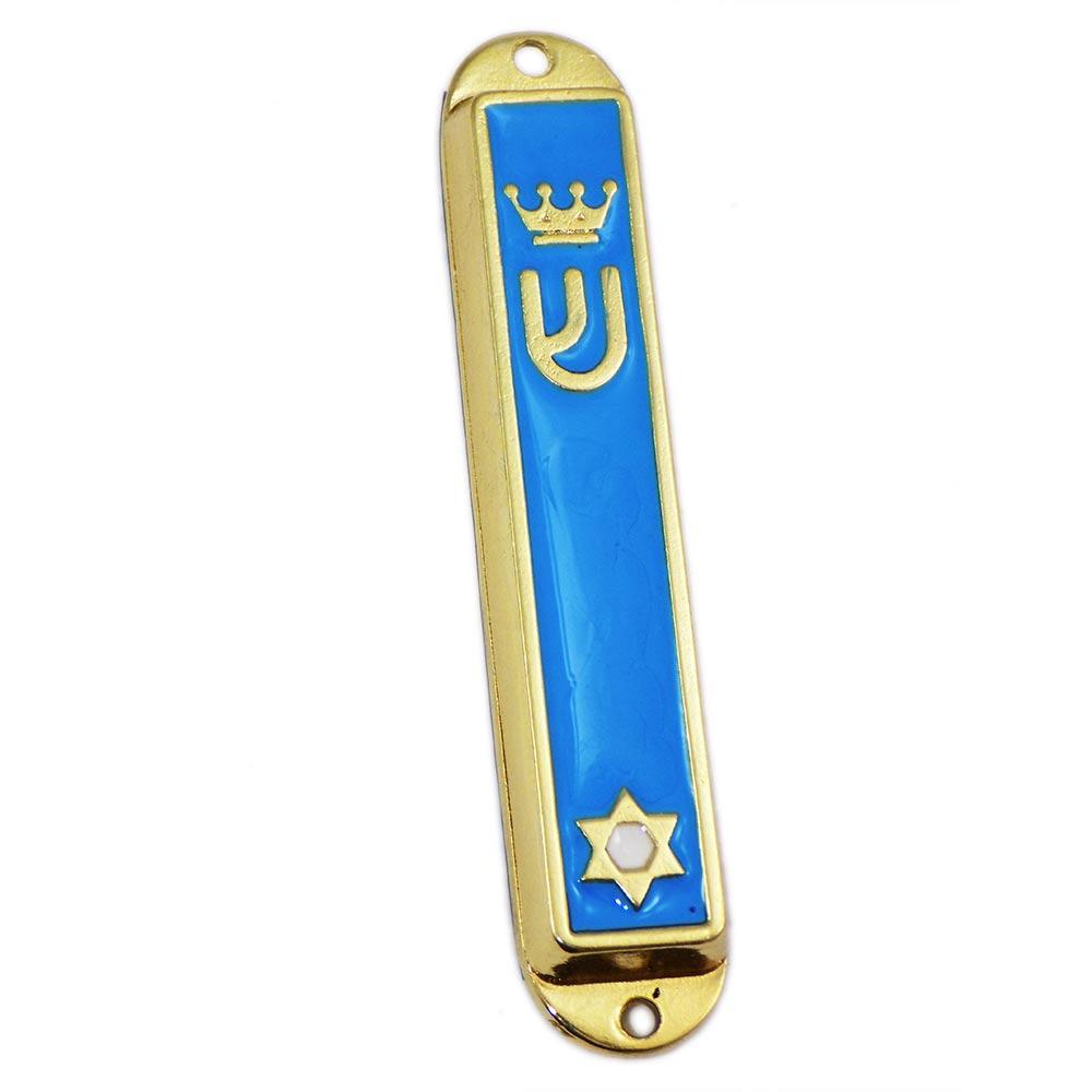 Light Blue Enamel Metal Mezuzah