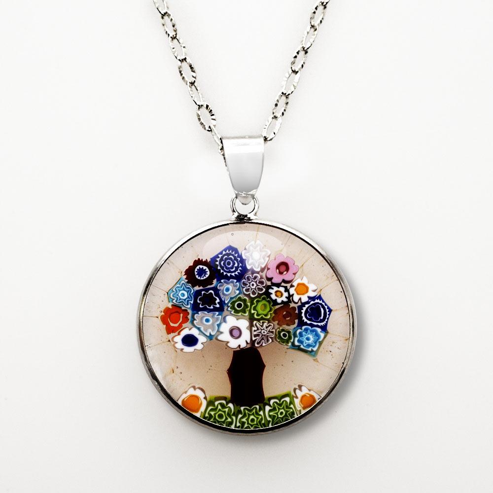 Jewish Jewelry Tree Of Life Pendant Murano Glass
