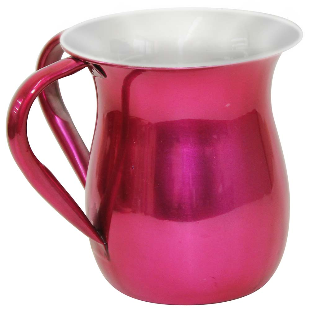 jewish gifts hand washing cup shiny pink finish stainless hand