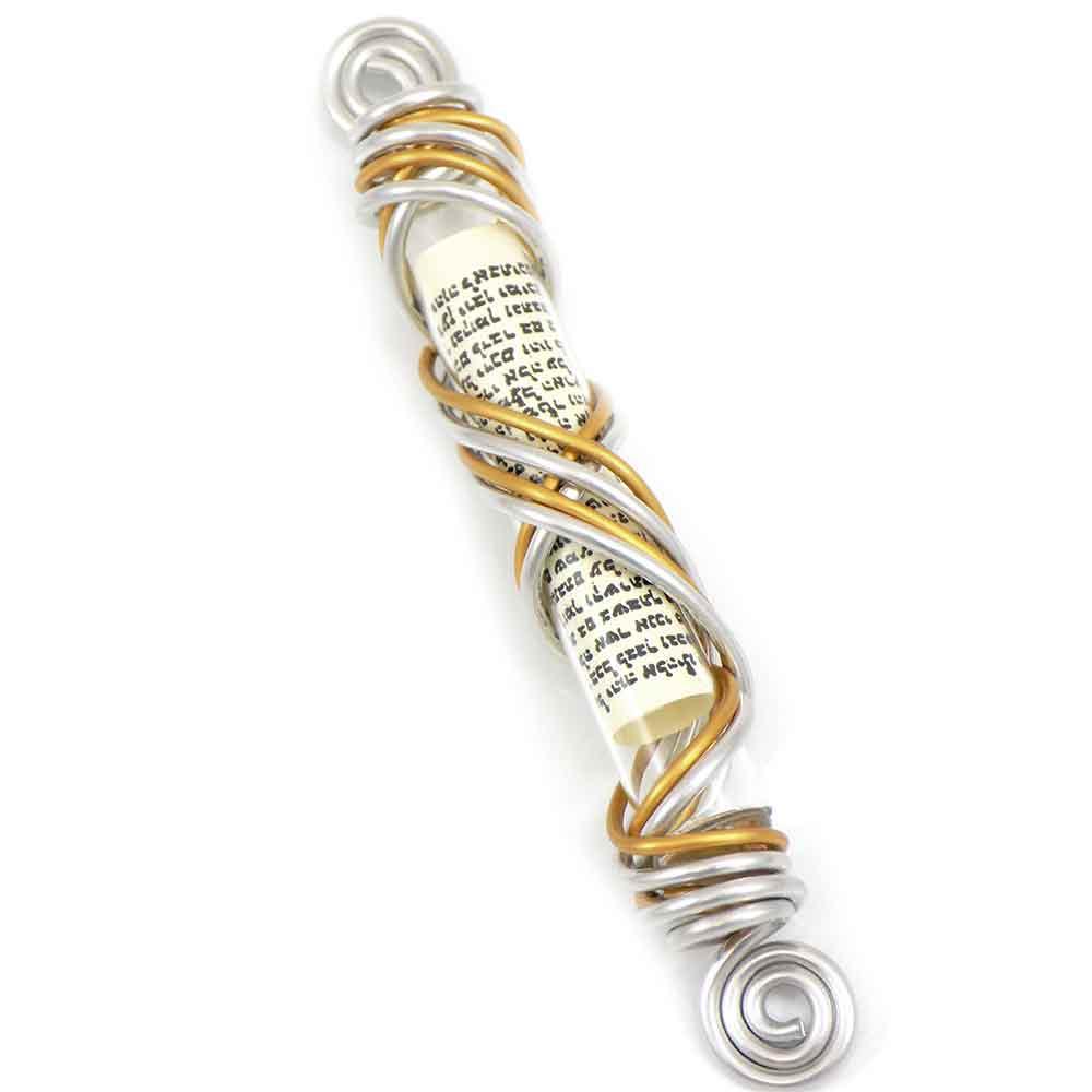 Jewish Gifts Judaica-Wire Wrapped Glass Mezuzah