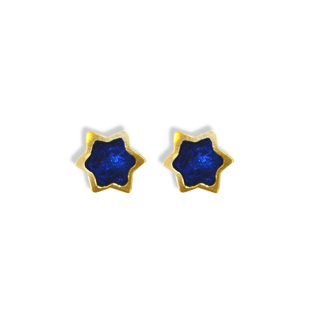 Jewish Jewelry 14k Gold Blue Star Stud Earrings