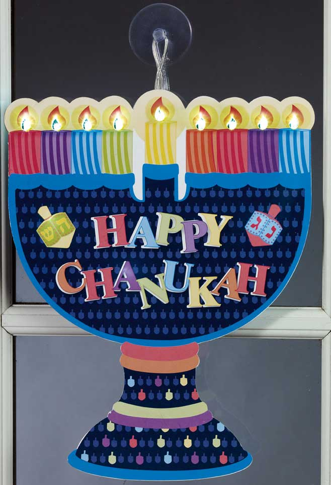 Jewish gifts hanukkah led window menorah decoration for Hanukkah home decorations