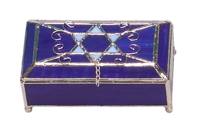 Blue Stained Glass Keepsake Jewelry Box Jewish Gifts