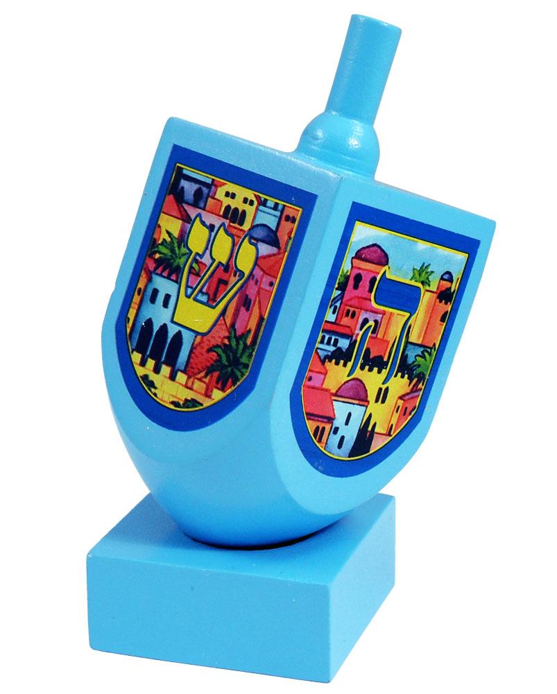 Toys For Hanukkah : Wooden jerusalem dreidel
