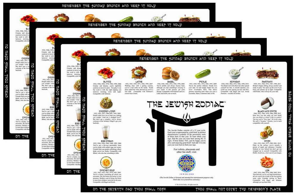 Set Of 4 Jewish Zodiac Placemats