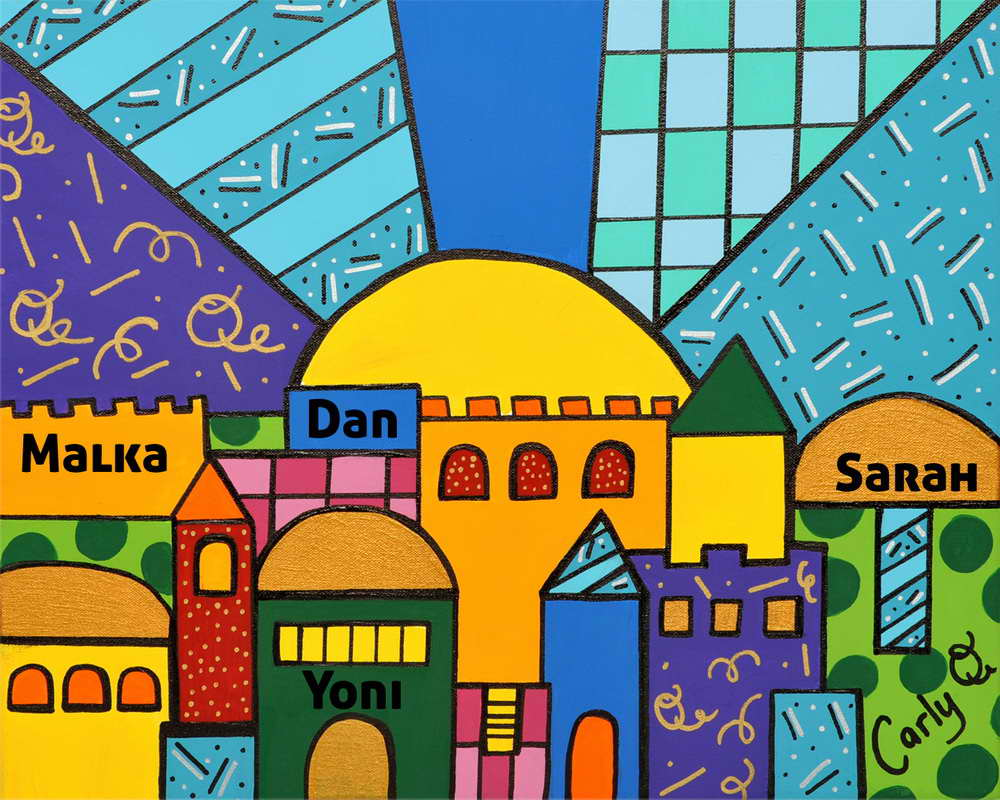 Jewish Art - Jerusalem Sky Pop Art Wrapped Canvas