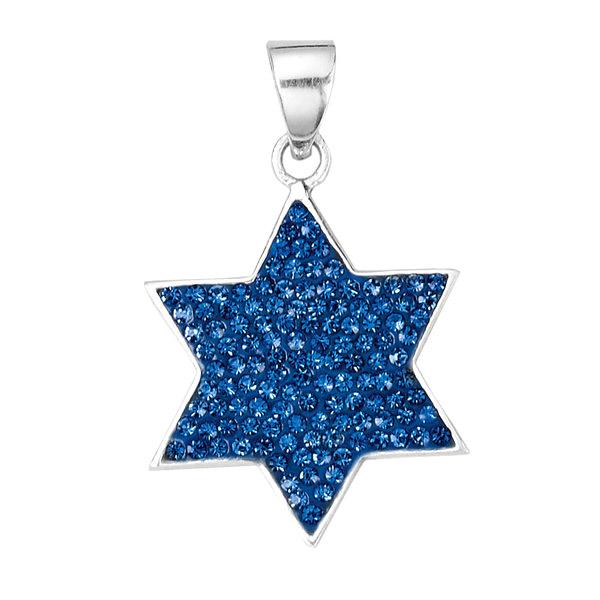 Blue Jewish Star Sparkle Pendant