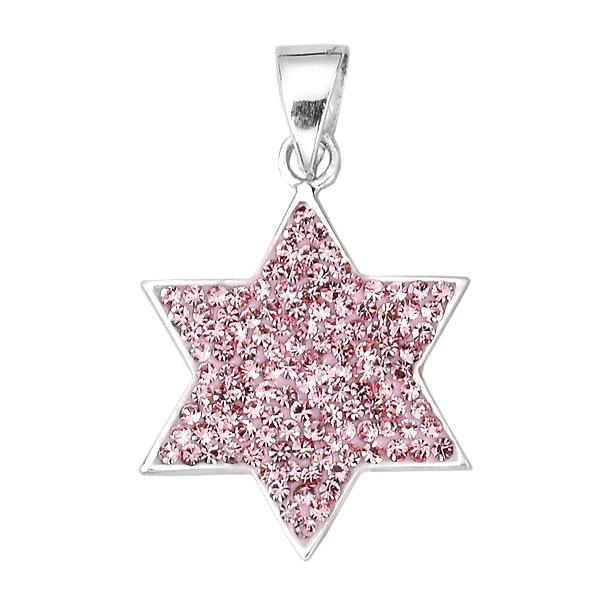 Pink Jewish Star Sparkle Pendant