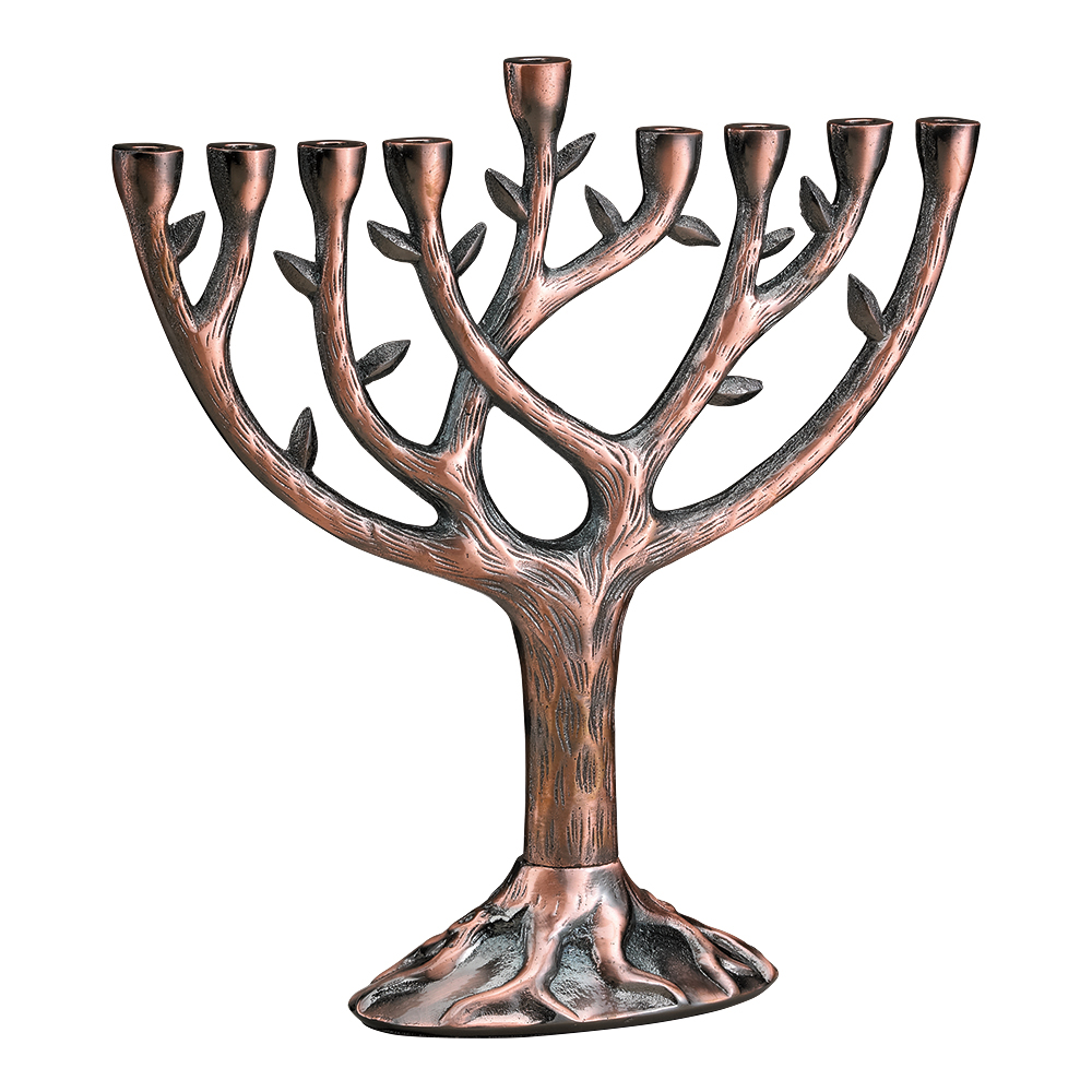 Jewish Gifts Tree Of Life In Copper Finish Menorah For