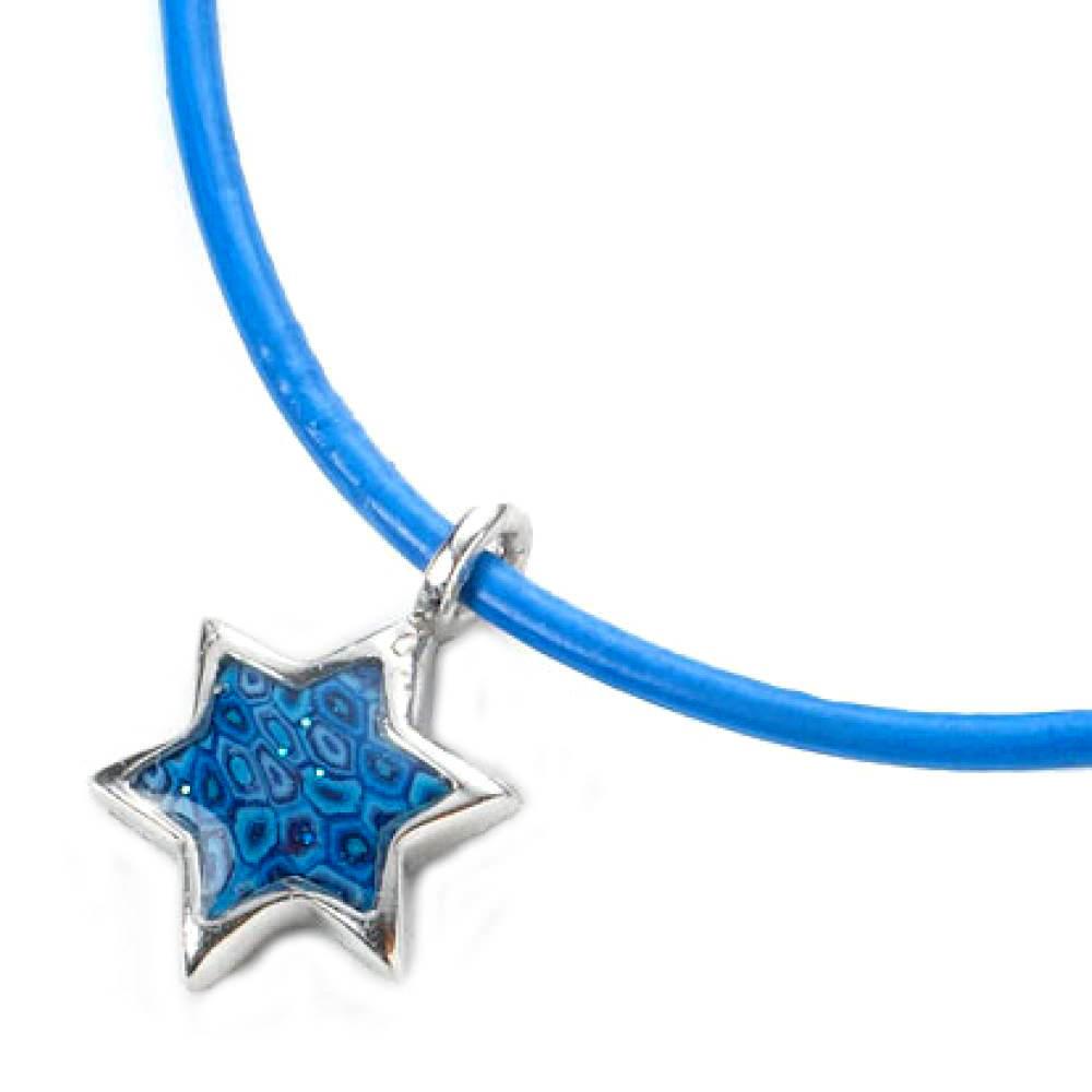 blue millefiori star of david bracelet