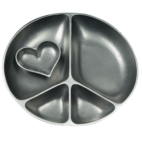 Jewish Gifts Aluminum Peace Sign Bowl With Small Heart