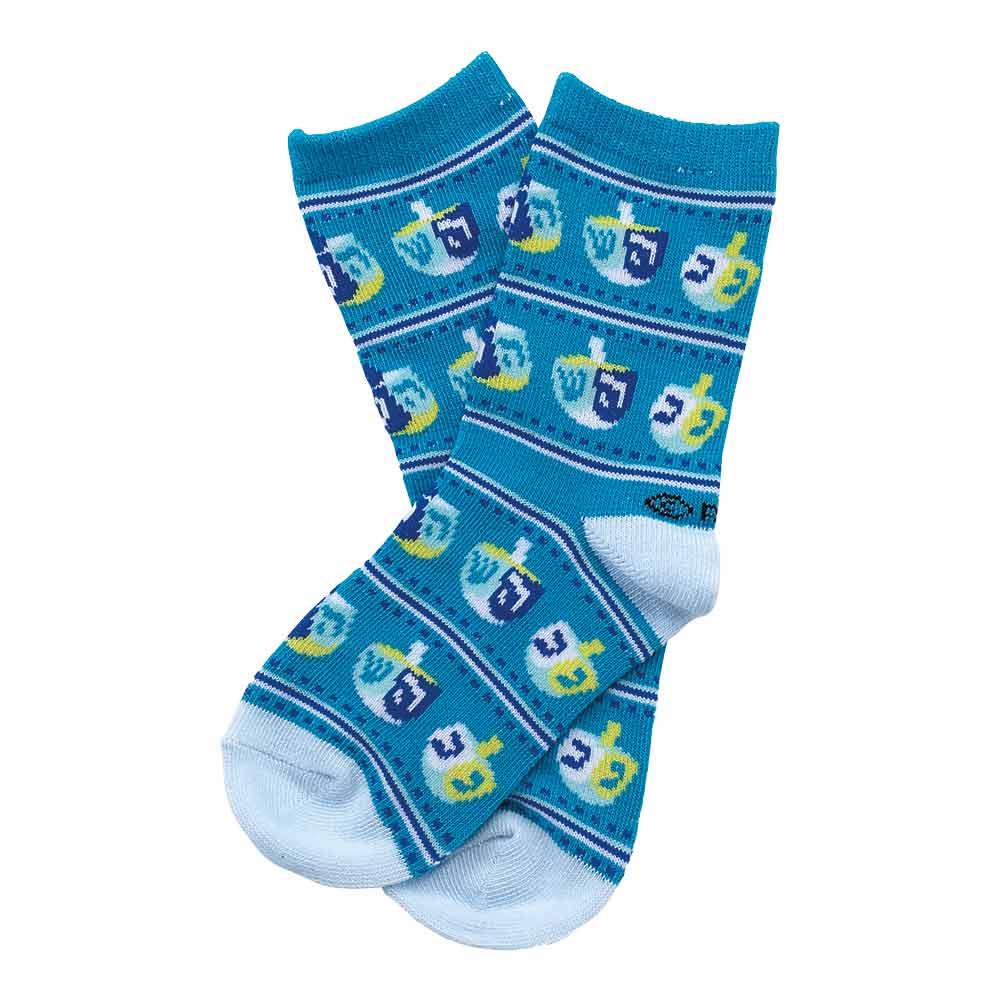 Chanukah Gifts Blue Dreidel Kids Crew Socks