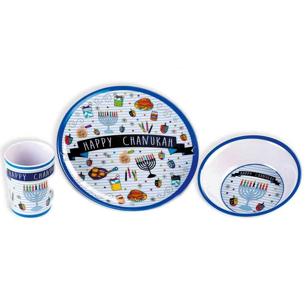sc 1 st  Traditions Jewish Gifts & Hanukkah Gift - 3 Piece Childrenu0027s Dishes Gift Set
