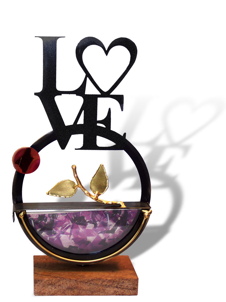 Jewish wedding gifts love glass metal sculpture by