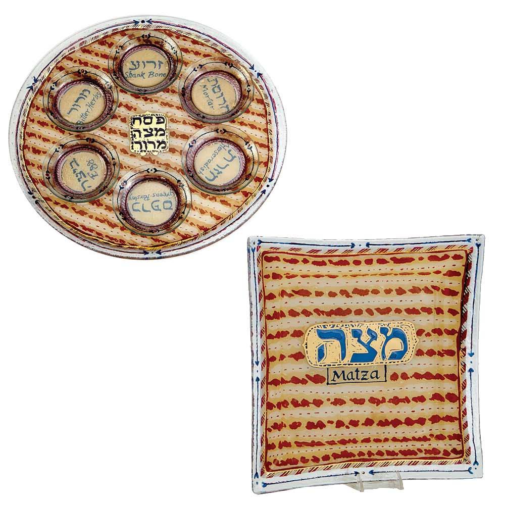 Matzah Design Glass Passover Set