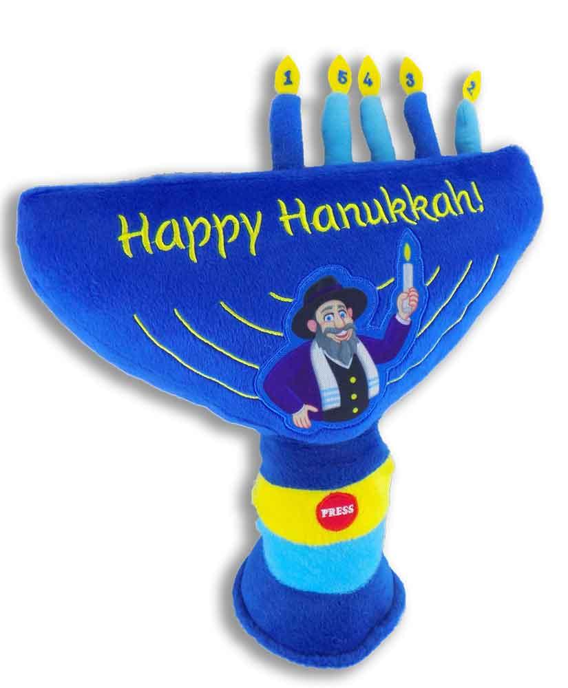 Toys For Hanukkah : Mensch on a bench plush singing hanukkah menorah as seen