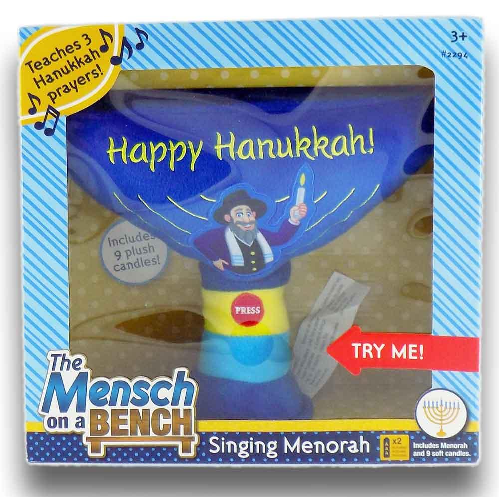 Mensch On A Bench Plush Singing Hanukkah Menorah As Seen