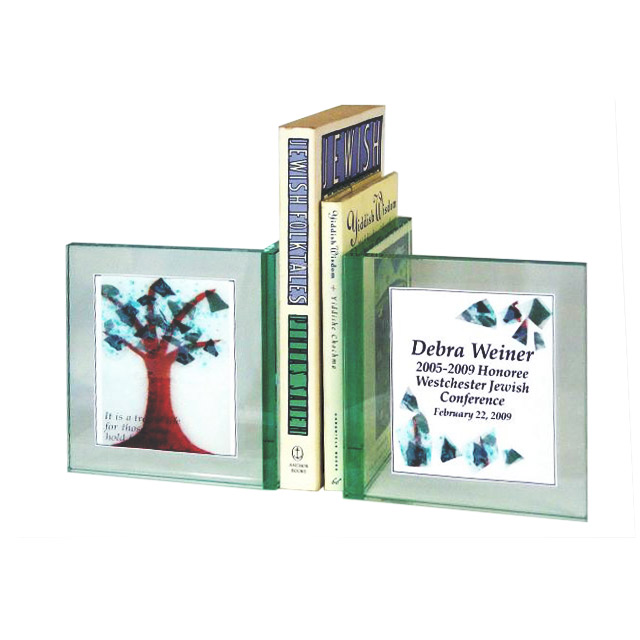 Jewish Gifts   Personalized Bookends   Personalized Tree Of Life Glass Bookends