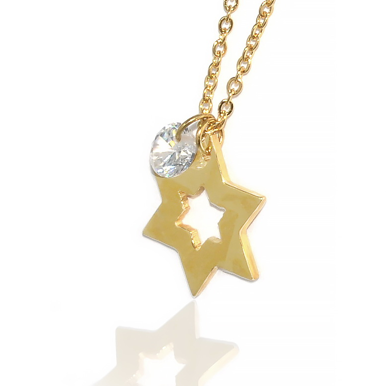 Jewish JewelryStainless Gold Jeweled Jewish Star Necklace