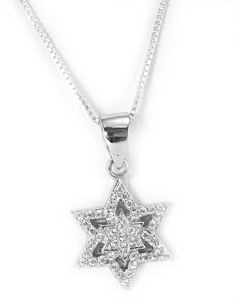 Jewish star pendant necklace in sterling silver with faceted crystals aloadofball Images