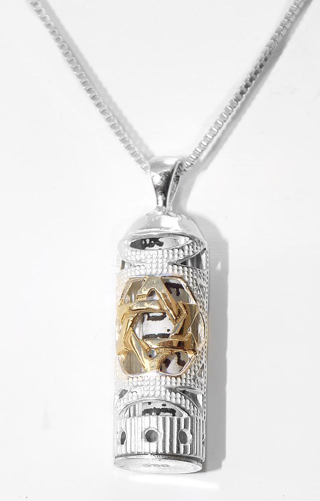 Jewish JewelrySterling Silver Gold Jewish Star Mezuzah Pendant