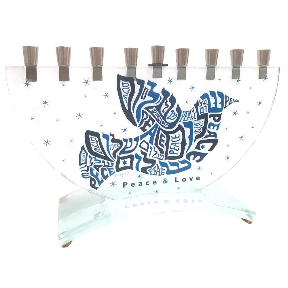 hanukkah gifts word play dove of peace half round hanukkah menorah